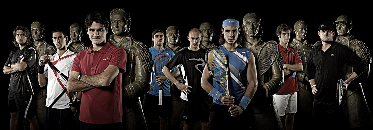 The top 8 tennis players with the 8 terracotta warrior sculptures - final image released by the ATP for the Tennis Master Cup Shanghai 2007