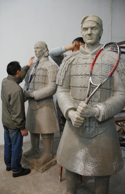 Shen Xioanan working on the Tennis Terracotta Warrior sculpture series for the ATP / Tennis Master Cup Shanghai 2007